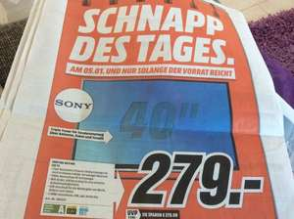 Sony KDL 40 R 485 LED TV Schnapp des Tages nur am Montag den 05.01.15 Media Markt Heilbronn 279€ UVP 549€  Idealo ab 335€