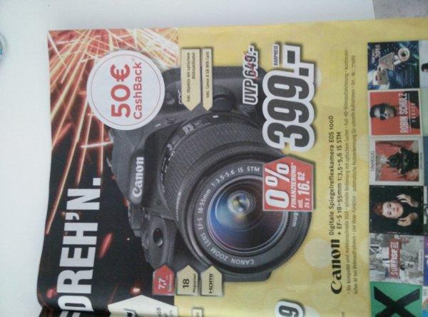 [Lokal?] Canon EOS 100D + 8 GB Card + Cashback