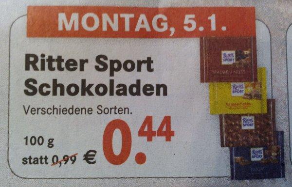 [Lokal Bremen Horn] Ritter Sport 100g vers. Sorten ab 5.1 für 0,44€