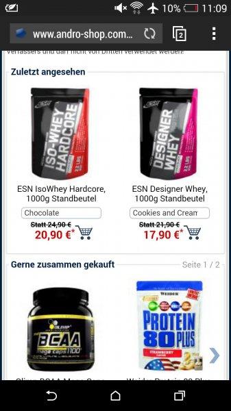 Esn Designer Whey 1Kg für 21,80€ @fitmart