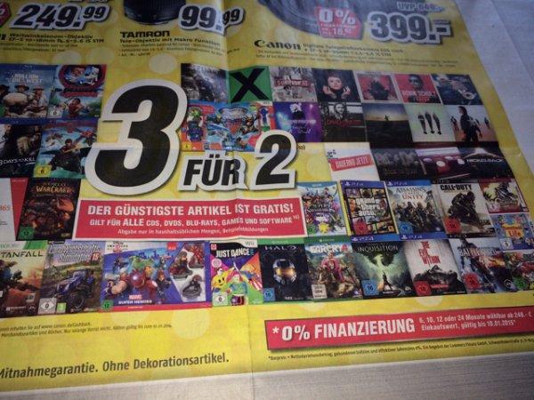 3gür 2 auf cds, dvds,blu-rays, games und Software bei Medimax [lokal Bochum]