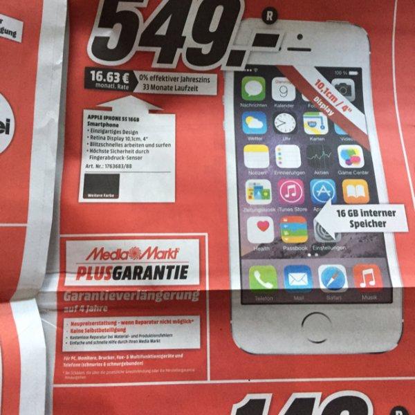 iPhone 5S 16GB mit 4 Jahren Garantie (MediaMarkt)