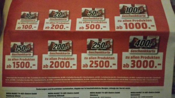 Bei Mediamarkt Geschenkkarte (bis zu 400€) zum Einkauf dazu