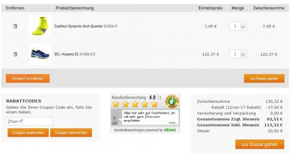 [heute] Asics Kayano 21 incl. Füllartikel (Lauf-Socken) 115,31€