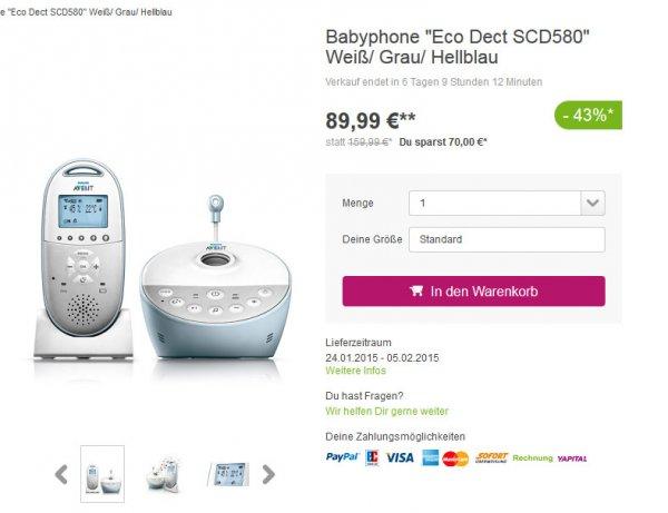 Philips Avent Babyphone SCD580 für 80 Eur @ Limango.de