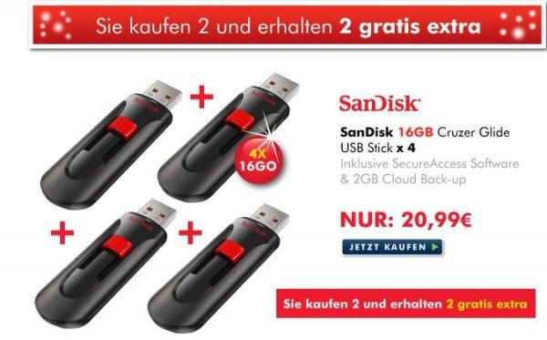 4 Stück SanDisk Cruzer Glide USB-Stick 16GB USB 2.0 schwarz/rot bei Zoombits = 20,99 Euro
