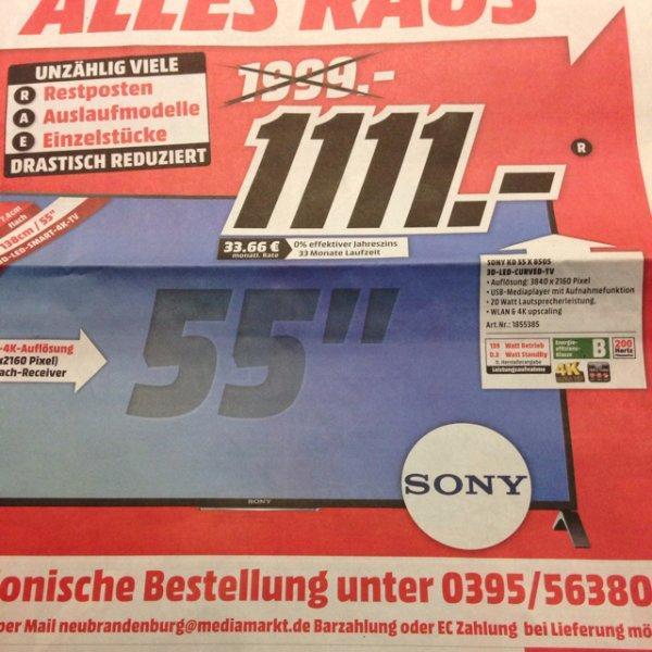 (Lokal) MediaMarkt Neubrandenburg Sony KD 55X8505 für 1111€
