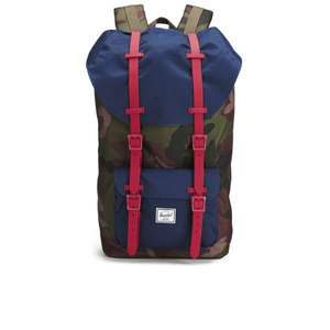 [The Hut] Herschel Little America Backpack - Woodland/Navy/Red Rubber