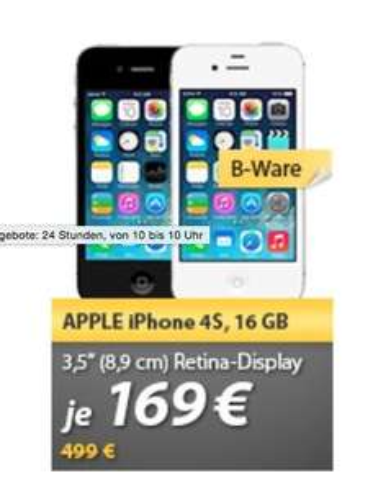 (B-Ware) iPhone 4S 16GB schwarz oder weiß 169€ inkl. VSK @ meinPaket (Händler CarbonPhone Shop)