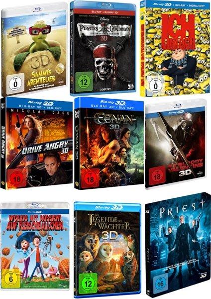 3D Blu-ray Paket (9 Stück für 129,00 EUR)