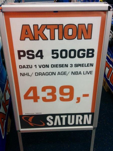 PlayStation 4 mit 500GB + 1 Spiel für 439€ @ Saturn Hamburg Mönckebergstraße