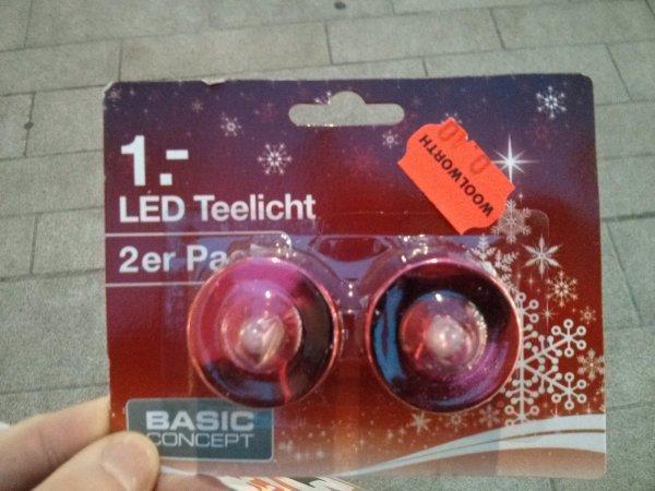 [WÜRZBURG WOOLWORTH] 2 LED-Teelichter inkl. 2 CR 2032 Batterien für 10 Cent