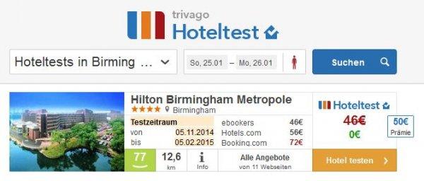 Kostenlose bzw. günstige Hotelübernachtung (Kombination Ebookers-Gutscheincode mit Trivago-Hoteltest)