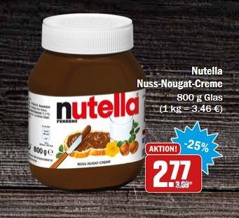 [Lokal HIT Köln-Braunsfeld, evtl. auch andere Märkte] Nutella 880g für 2,77€ (3,15€/kg); Achtung: Nach 880g Gläsern Ausschau halten!