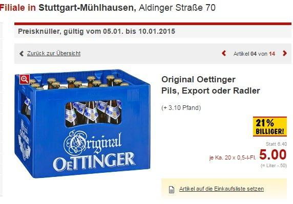 [Lokal?]Kaufland Stuttgart Mühlhausen -  Kiste Oettinger für 5€