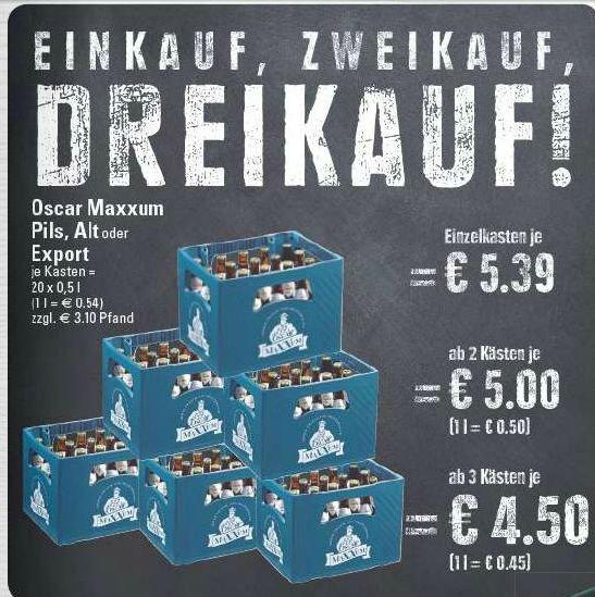 [Marktkauf & Edeka Rhein-Ruhr] Oscar Maxxum Pils, Alt o. Export - 3 Kisten 20*0,5l für 13,50€ = 4,50€ pro Kasten (0,45€ / L)
