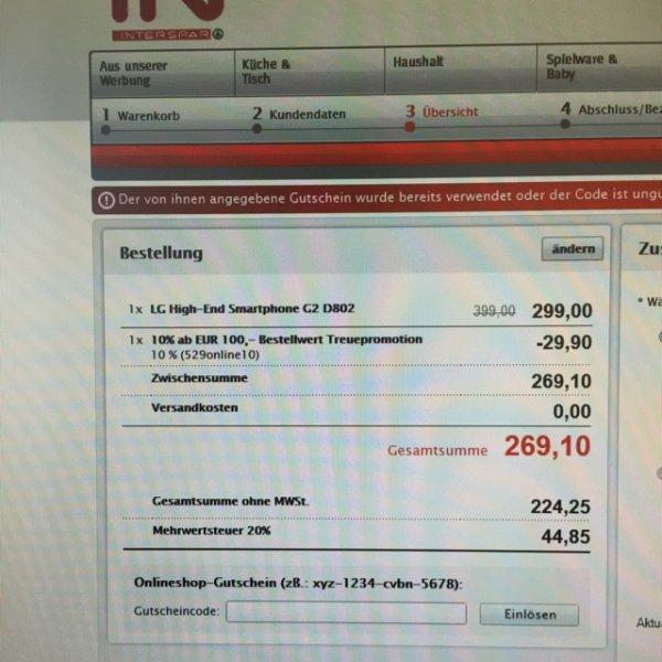 LG G2 32GB für 269€ + ggf. 6,90€ VSK nach DE (Interspar.at)