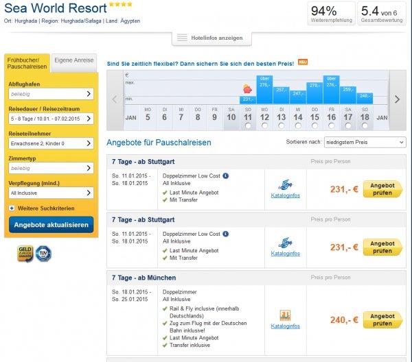 Lastminute Ägypten - 7 Tage All Inclusive im guten Hotel ab 231€ p. P. (2 Personen)
