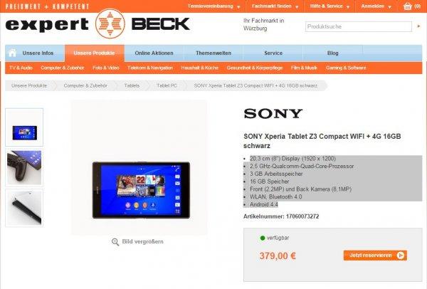 SONY Xperia Tablet Z3 Compact WIFI + 4G 16GB schwarz