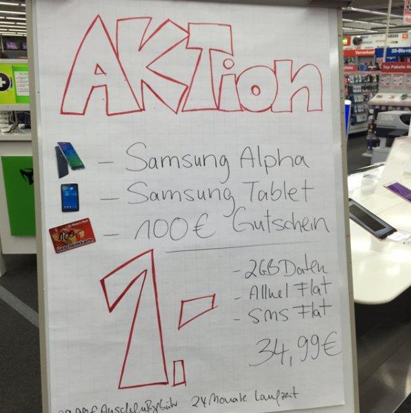 Samsung Galaxy Alpha + Tablet + 100€ Gutschein MM Hamburg Langenhorn / Hummelsbüttel