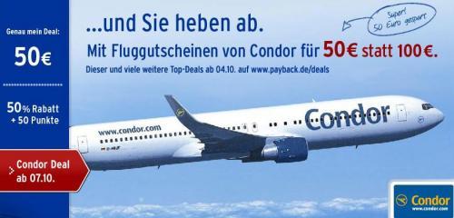 Payback Deals: 100 Euro Condor Gutschein für 50 Euro