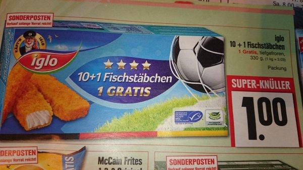 (lokal?) iglo Fischstäbchen 11 Stück 1 €