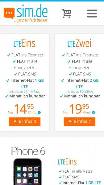Sim.de LTE EINS oder LTE ZWEI nur für 14,95 € Ohne Vertragsbindung