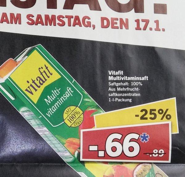 Multivitaminsaft (1l) bei Lidl für 0,66€ am Supersamstag 17.01.2014 Bundesweit