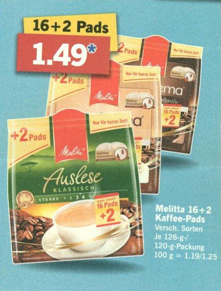 [Lokal] LIDL Melitta 18 Pads für 1,49€