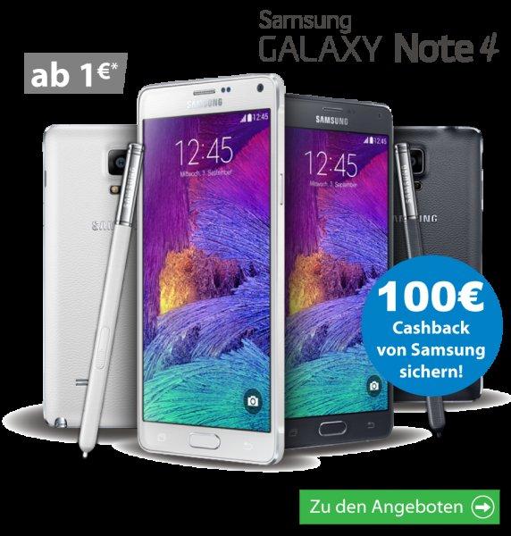 Otelo Allnet-Flat XL mit Samsung Galaxy Note 4 für eff. 4,57 €/Monat [logitel.de]