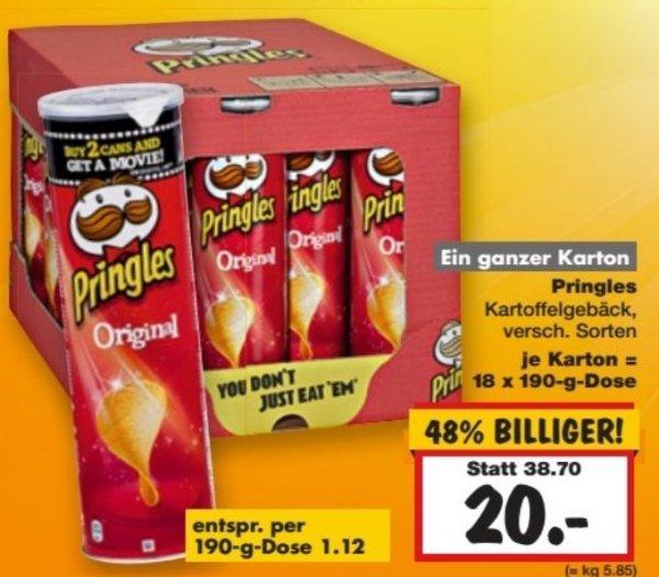 Eine Kiste Pringles (18x190g) für 20 € bei Kaufland in Dallgow-Döberitz (lokal)