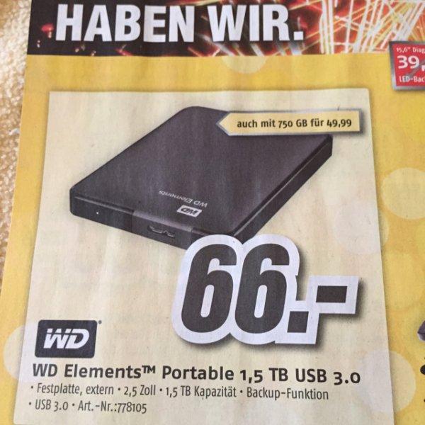 Medimax Würselen WD Elements Portable 1,5 TB USB 3.0 externe Festplatte