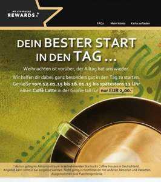 [Starbucks] Caffè Latte in Tall täglich bis 11 Uhr (vom 12.01-16.01)