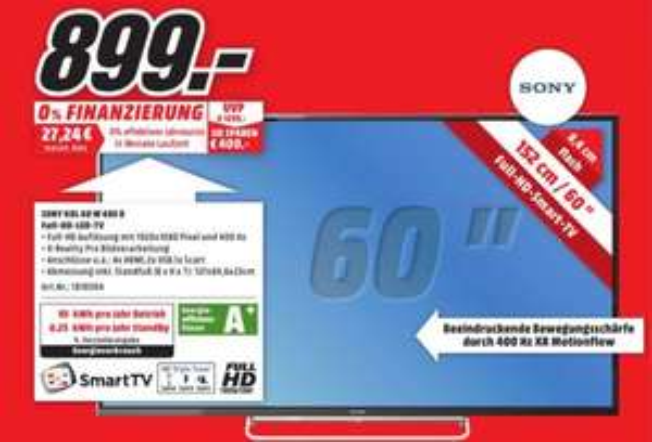 [MM Recklinghausen]  Sony BRAVIA KDL-60W605 153 cm (60 Zoll) LED-Backlight-Fernseher, EEK A+ (Full HD, Motionflow XR 400Hz, Wireless-LAN, DVB-C/T2/S2, CI+, Smart TV) schwarz [Energieklasse A+]