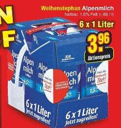 [Netto o. Hund - bundesweit?] Karton Verkauf u.a Weihenstephan Alpenmilch 6x1L