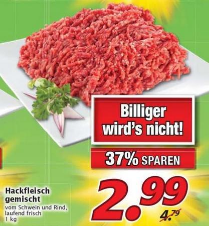 Hackfleisch gemischt 2,99€/Kilo Marktkauf (Lokal Nürnberg?)