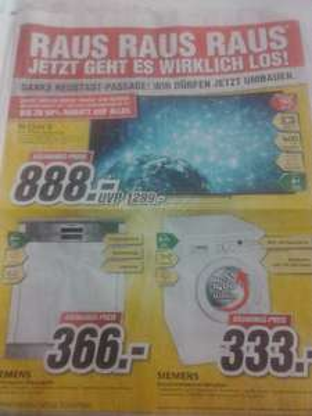 [Medimax Halle Neustadt] Sony LED-TV KDL-60 W605BB für 888€ / Siemens Geschirrspüler SN55L580EU für 366€ / Siemens Waschvollautomat WM14E3A1 für 333€