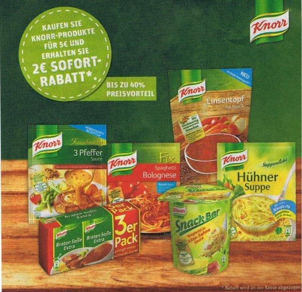 [REWE] 2 Euro Rabatt auf Knorr Produkte im Wert von 5 Euro