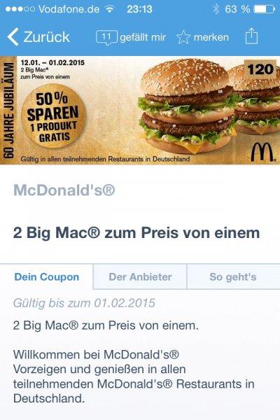 Coupies - 2 Big Mac's zum Preis von einem