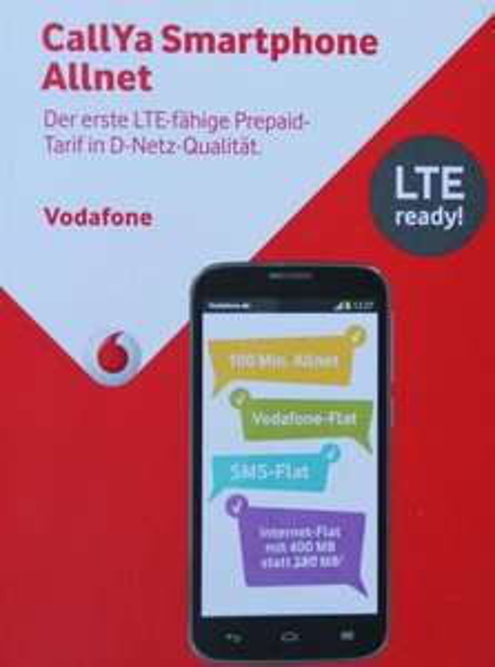 Vodafone Callya 1 Monat nutzen: 100 Minuten Allnet, Vodafone/SMS/Internet-Flat 400MB LTE*