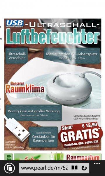 USB Ultraschall Vernebler VSK 4,90€ bei pearl.de