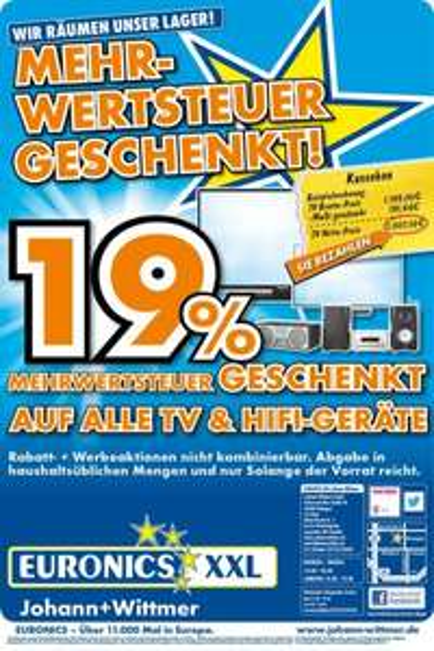 [Lokal Ratingen] Lagerräumung bei Euronics - 19% auf alle TV und Hifigeräte