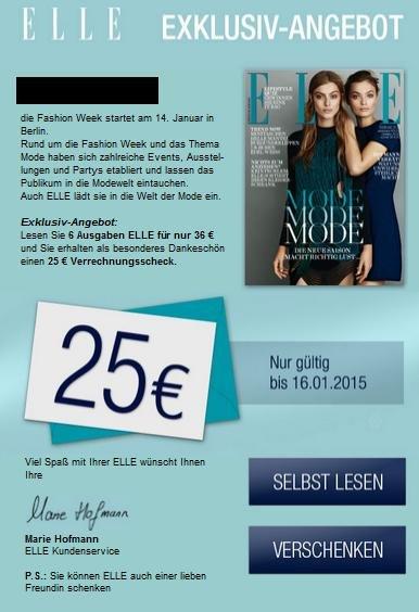 6x Ausgaben Elle Magazine für 36€ + 25€ Verrechnungsscheck