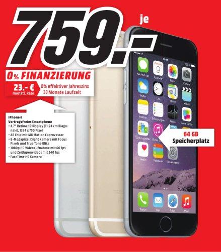 Lokal (MM Sulzbach / MTZ) iPhone 6 64GB alle Farben für 759€