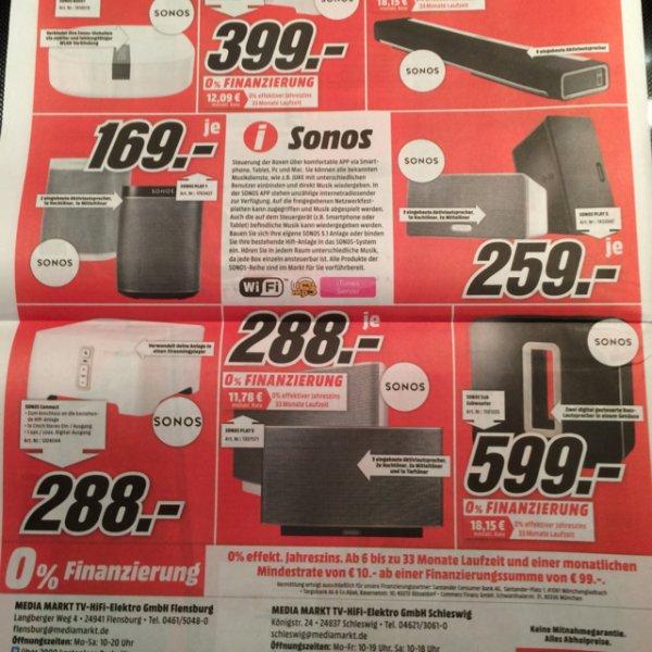 Sonos Playbar 599€, SUB 599€ usw, bei Mediamarkt Flensburg