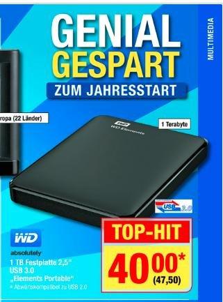 "[BUNDESWEIT METRO] WD Elements Portable 1TB externe Festplatte (2,5"", schwarz)"