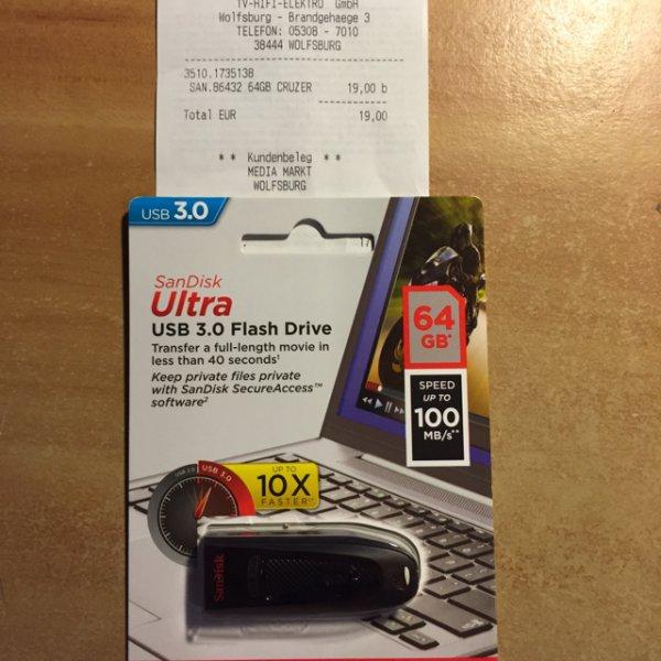 [Lokal] SanDisk Cruzer Ultra 64GB USB-Stick USB 3.0 schwarz