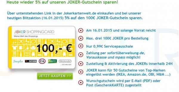 [Jokerkartenwelt] bis zu 4,67% Rabatt auf Joker-Gutscheine, z.B. für amazon Guthaben