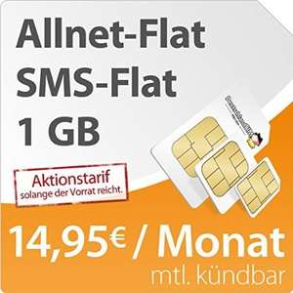 [Deutschlandsim] Allnet-Flat / SMS-Flat / 1GB Daten monatl. kündbar für 14,95€ mtl. (19,95€ Anschlussgeb.) im O2-Netz
