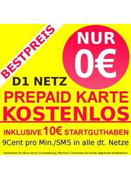 D1 Netz Prepaid Karte KOSTENLOS durch 10€ Auszahlung